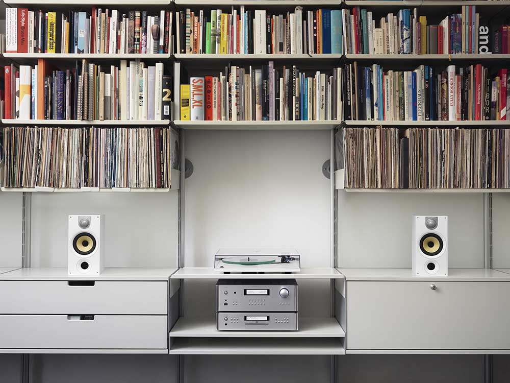 A vast record library and audio systems for record playing