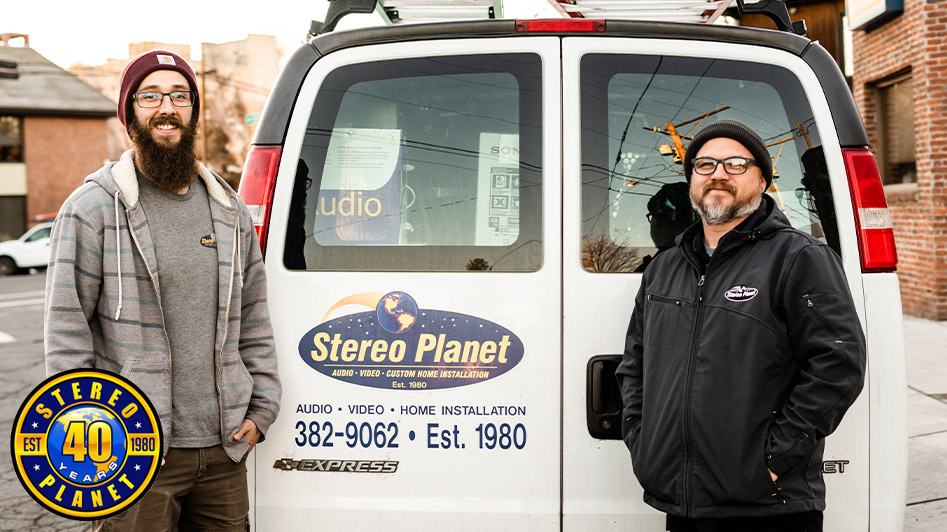 Stereo Planet team stands by van; home technology services